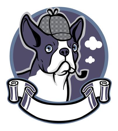 ボストンテリア犬  イラスト・ベクター素材