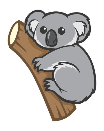 cartoon koala hold the tree