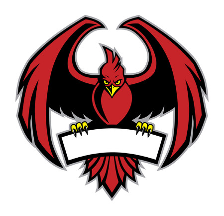 赤い鳥のマスコットは空白のバナーを保持します