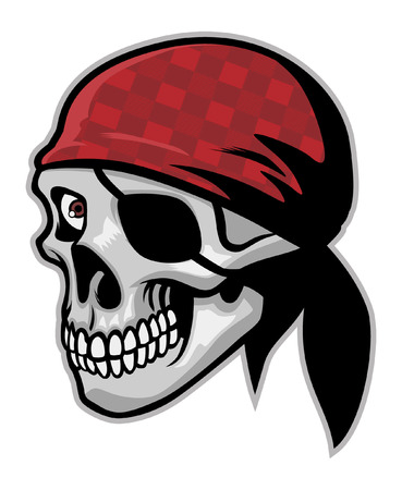 skull of pirate with eye patch vector illustration.