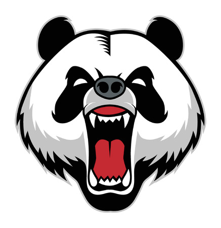 angry panda head mascot vector illustration.