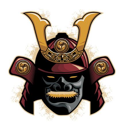 samurai warrior helmet vector illustration.