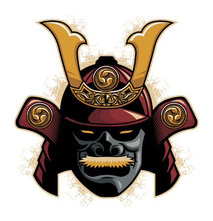 samurai warrior helmet vector illustration.