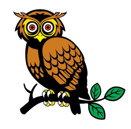owl standing at the tree branch vector illustration. Ilustração