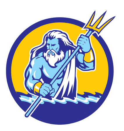 poseidon mascot vector illustration.