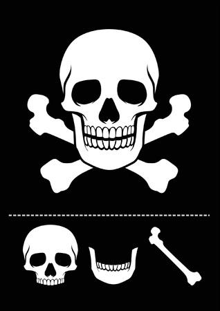 classic skull with crossed bones Illustration