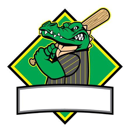 Crocodile baseball mascot illustration.