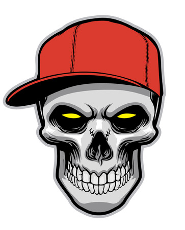 skull wearing baseball hat Illustration