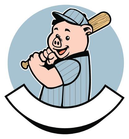 野球バッジとしての豚  イラスト・ベクター素材