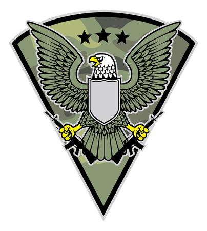 eagle hold the rifle in military badge style Ilustrace
