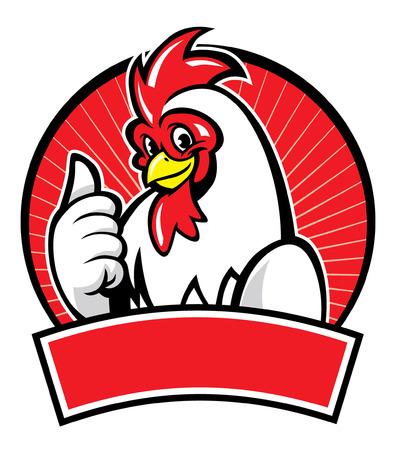 vrolijke kip mascotte duim omhoog