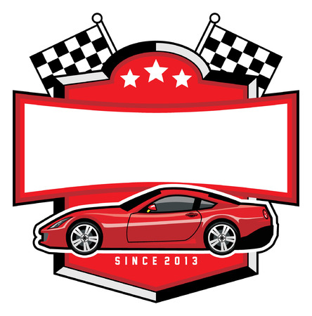 sport car badge with blank space for text Illustration