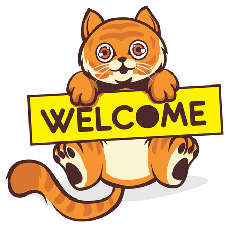 cat holding the welcome sign Ilustrace