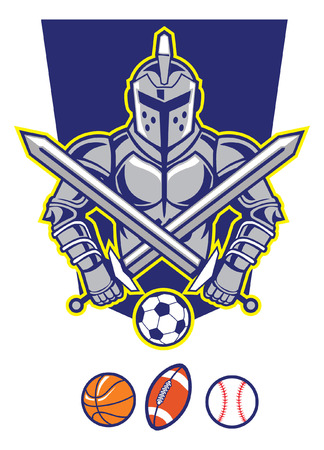 knight mascot with various of sport ball Illustration