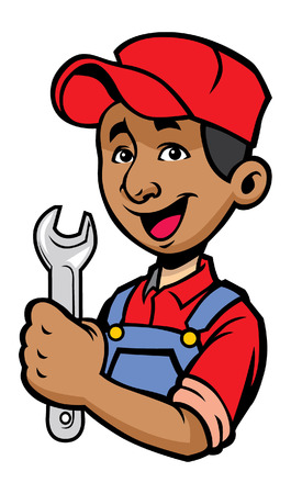 happy mechanic hold the wrench