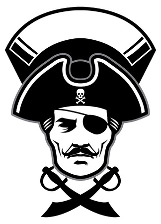 head of pirate with blank banner for text
