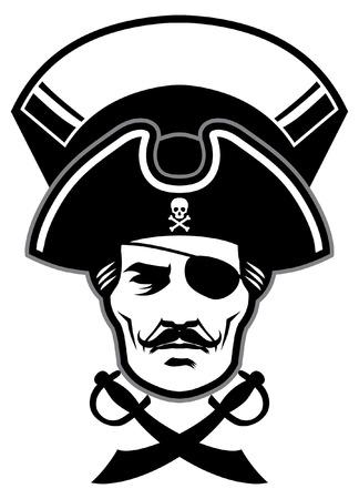 hoofd van piraat met lege banner voor tekst Stock Illustratie