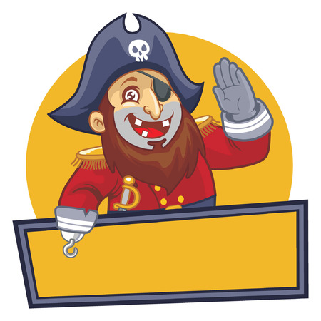 happy pirate with blank space for text Illustration