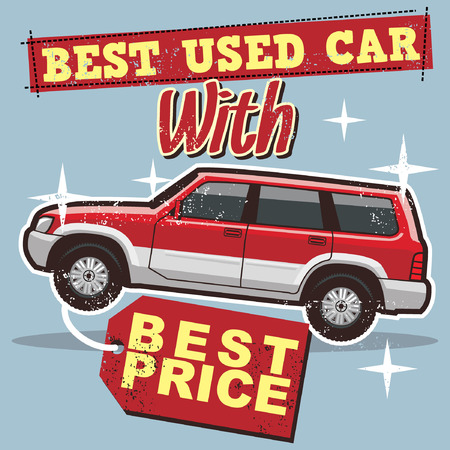 used car poster Vector illustration. Ilustracja
