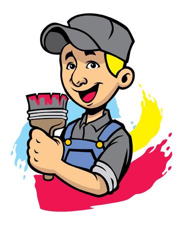 gelukkige huisschilder Vector illustratie. Stock Illustratie