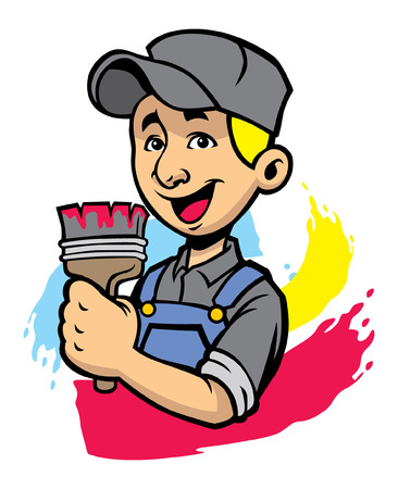 happy house painter Vector illustration.