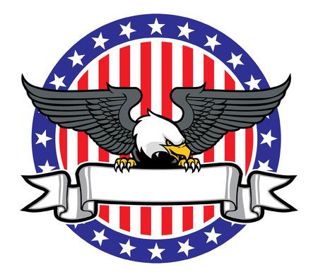 빈 배너를 쥐고 미국의 독수리