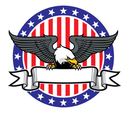 eagle of USA gripping the blank banner