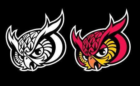 Owl head mascot set. 向量圖像