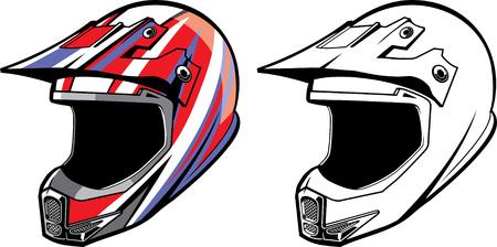 Kolekcja kasków motocrossowych. Ilustracje wektorowe