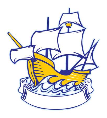 Piraatschip met lege banner voor tekstruimte.