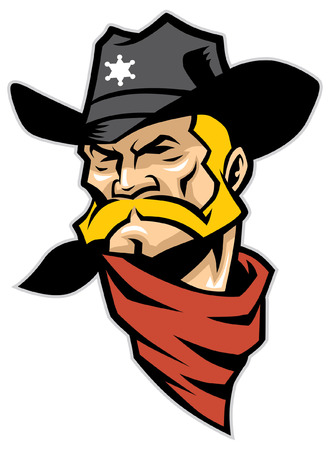 Cowboy hoofd mascotte. Stockfoto - 92990635