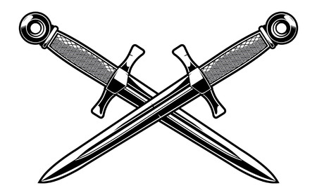 Crossed military dagger. Vettoriali