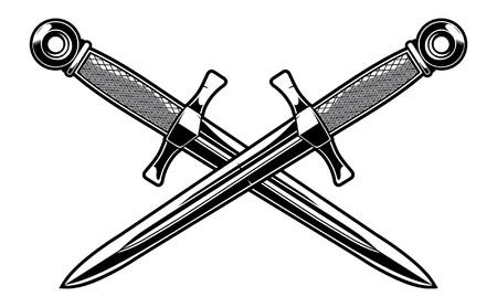 Crossed military dagger. Illustration