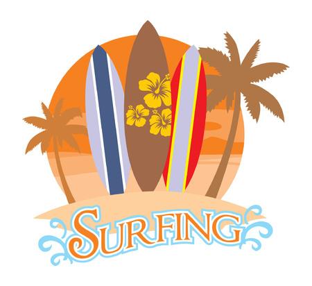 ビーチでサーフィンボード  イラスト・ベクター素材