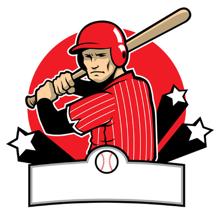 vector of baseball badge with baseball player