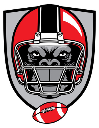 head of gorilla wearing football helmet