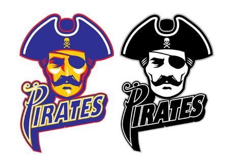 set of pirate head mascot
