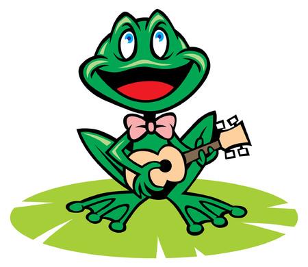 행복 개구리 노래 일러스트