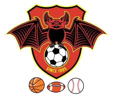 bat holding various of sport ball Illusztráció