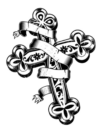 cross with blank ribbon