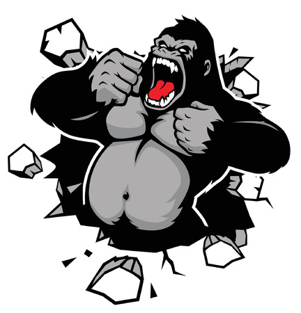 angry of gorilla breaking the wall