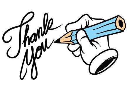 pisząc ręcznie dziękuję Ilustracje wektorowe