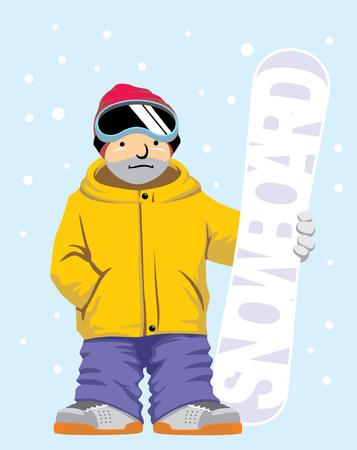 simple cartoon vector of snowboarding man