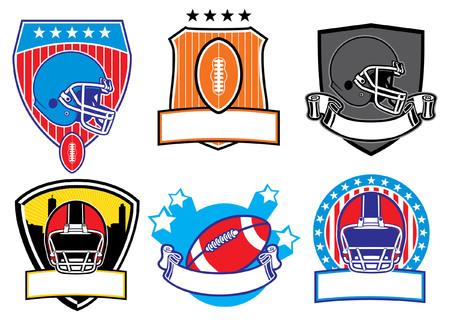 アメリカンフットボールバッジのセット  イラスト・ベクター素材