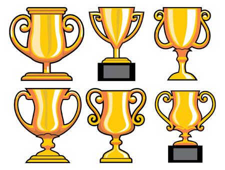 set of trophy Ilustração