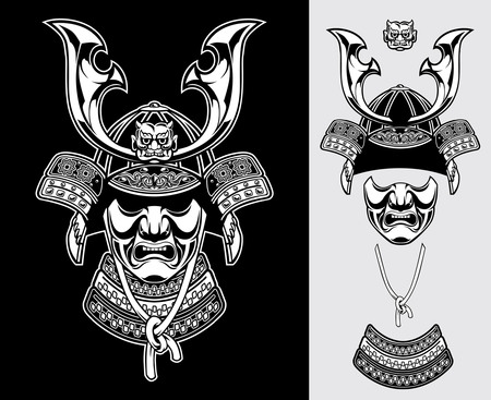 武士の戦士のヘルメットの黒と白の詳細