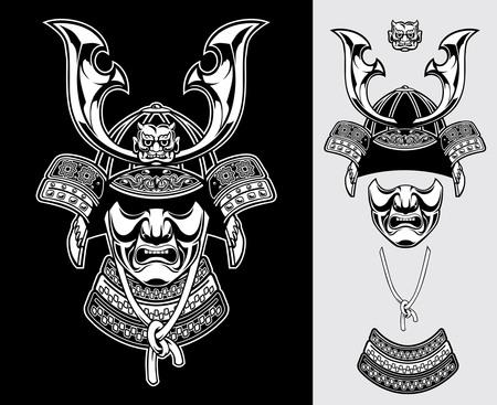black and white detailed of samurai warrior helmet