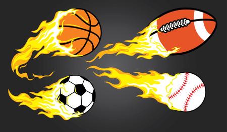 various burning of sport balls