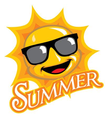 happy cartoon of sun character Illusztráció