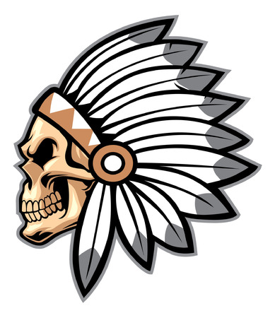 Skull of an indian mascot 向量圖像